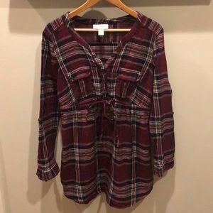 Maternity- plaid long sleeve top